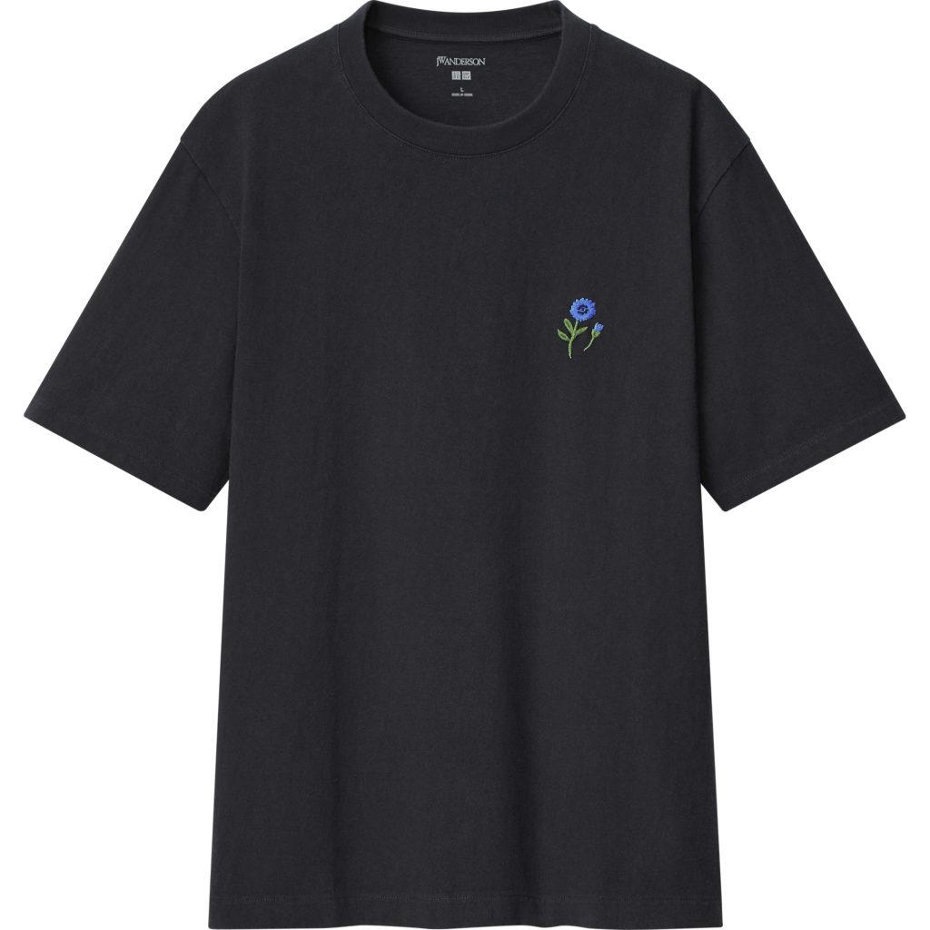 Flower Embroidery Crew Neck Short Sleeve T-Shirt
